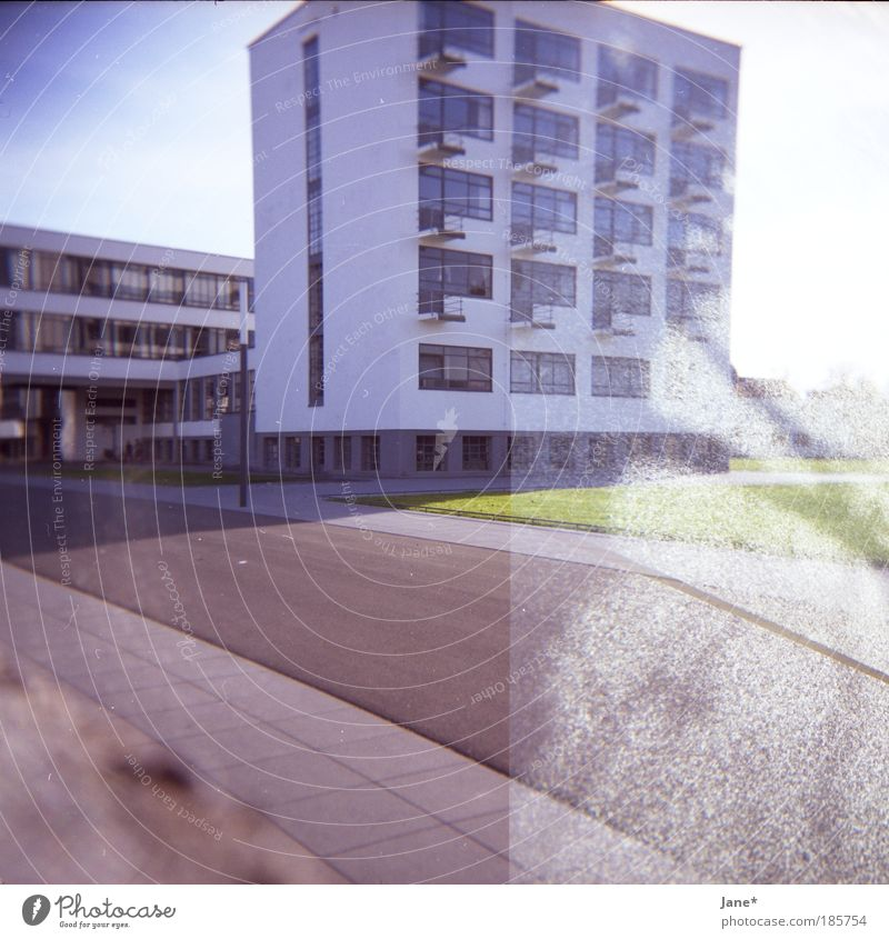 house building Dessau Germany Fishing village Small Town Manmade structures Building Architecture Moody Dream Colour photo Exterior shot Experimental Lomography