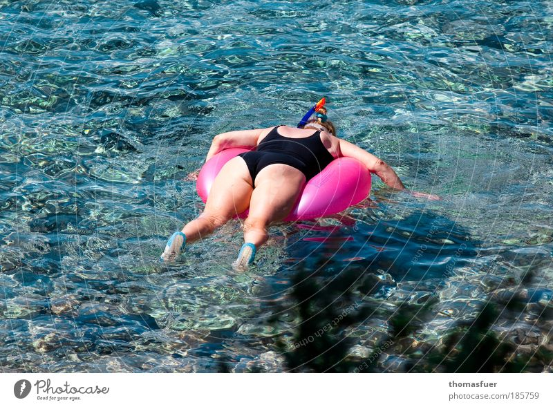 Woman Human being Water Blue Sun Vacation & Travel Ocean Summer Joy Adults Relaxation Feminine Leisure and hobbies Pink Swimming & Bathing Aerial photograph