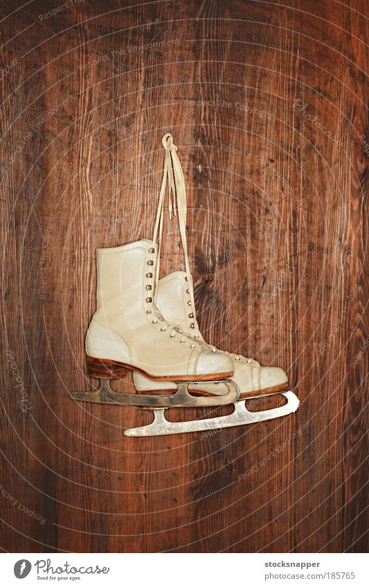 Old Skates Ice-skates Ice-skating White Vintage worn Leather footwear Sports Hanging Wall (building) wooden In pairs
