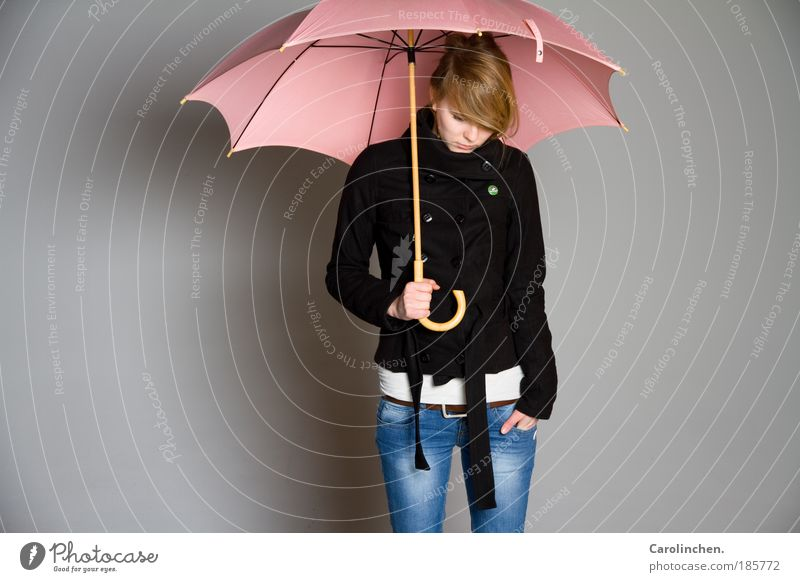 Human being Youth (Young adults) Cold Feminine Sadness Rain Adults Bright Blonde Safety Jeans Protection To hold on Umbrella 18 - 30 years Earring