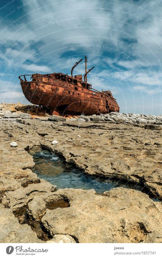 Old Blue White Landscape Brown Rock Beautiful weather Transience Broken Change Decline Rust Destruction Maritime Wreck
