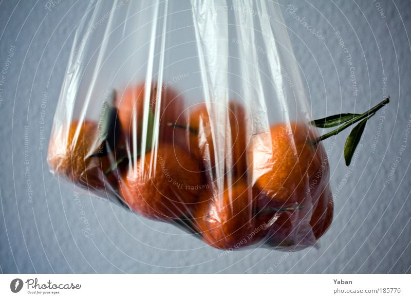 Agent Orange Food Tangerine Paper bag Plastic bag Twig Fruit Nutrition Vitamin-rich Vitamin C Plant Decoration Fragrance Healthy Fresh To enjoy Colour photo