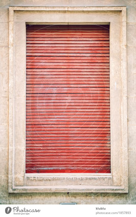 Old house window facade with red blinds Design Flat (apartment) House (Residential Structure) Decoration Art Hunting Blind Building Architecture Facade Dirty