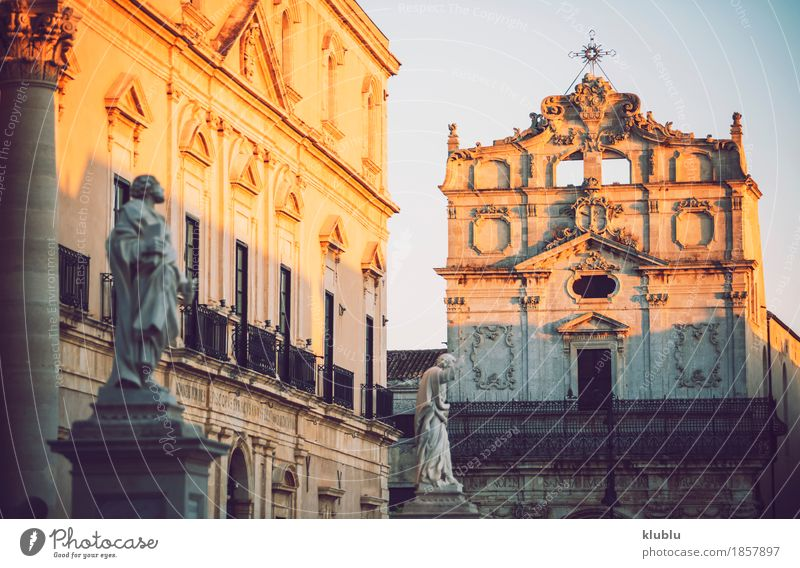 Detail view of Syracuse, Sicily, Italy Style Tourism Ocean Island Culture Landscape Sky Town Building Architecture Facade Balcony Monument Street Old siracusa