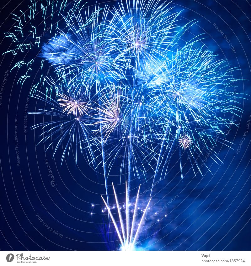 Blue fireworks Joy Freedom Night life Entertainment Party Event Feasts & Celebrations Christmas & Advent New Year's Eve Art Shows Sky Night sky Dark Bright