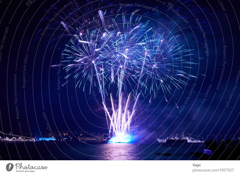 Blue colorful fireworks with water reflection Sky Christmas & Advent Colour Water White Red Joy Dark Black Freedom Feasts & Celebrations Party Lake Pink Bright