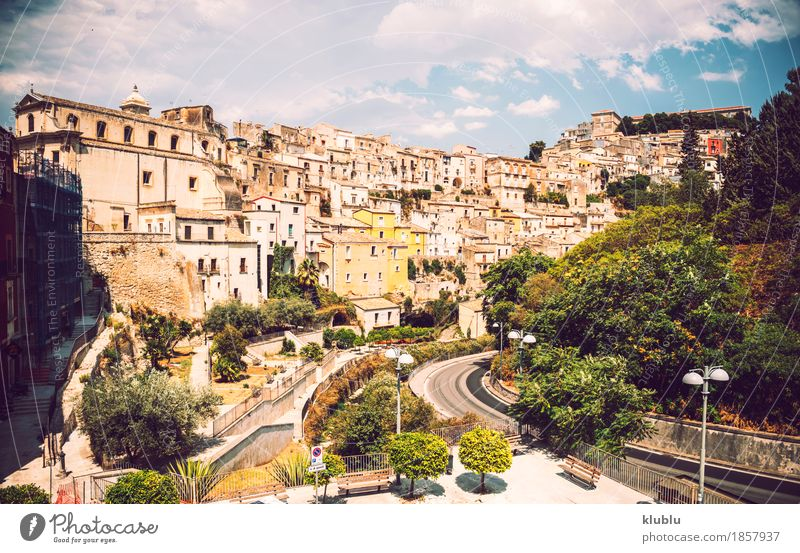 View of Ragusa, Sicily, Italy Old Town House (Residential Structure) Street Architecture Religion and faith Building Art Facade Church Vantage point Europe