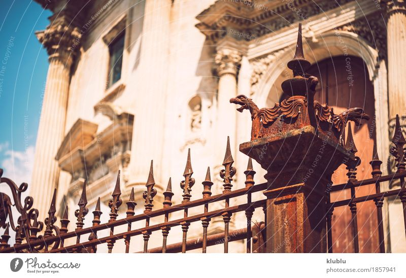 Detail view of Ragusa, Sicily, Italy Art Culture Town Church Building Architecture Facade Monument Street Old Historic Religion and faith Cathedral Europe
