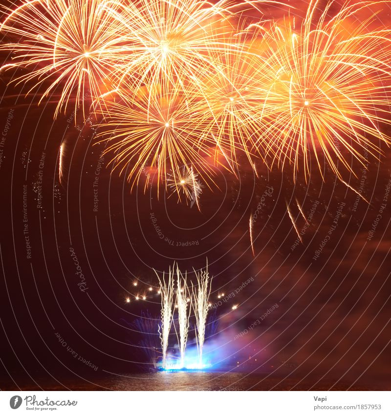 Red colorful fireworks Sky Blue Christmas & Advent Colour Green Water White Joy Dark Black Yellow Art Freedom Feasts & Celebrations Party