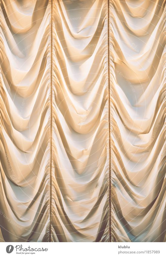 Beautiful beige curtain Luxury Elegant Style Design Decoration Wedding Art Fashion Cloth Yellow White Colour Curtain background draped Silk window wave Surface
