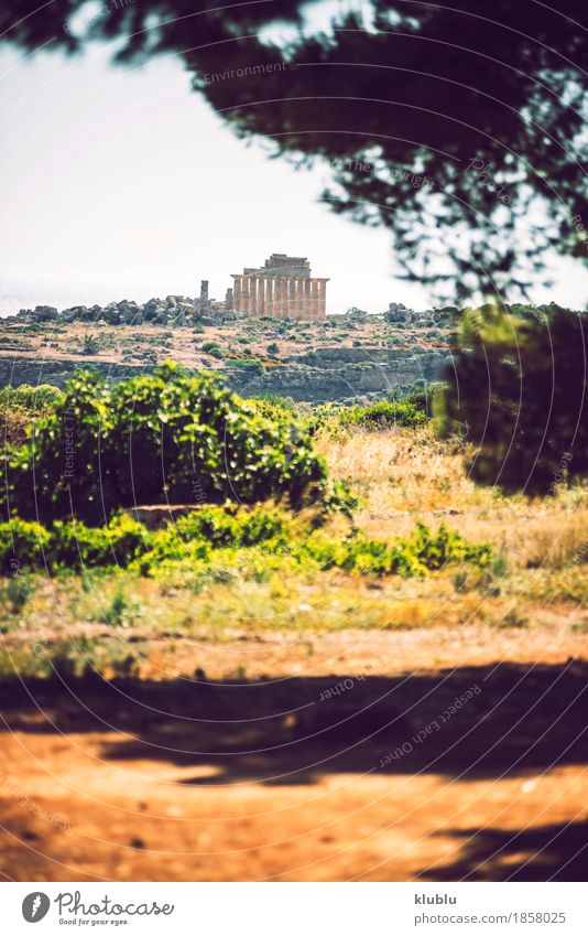Ancient Greek temple in Selinunte, Sicily, Italy. Vacation & Travel Tourism Culture Landscape Sky Ruin Building Architecture Monument Stone Old Historic Society