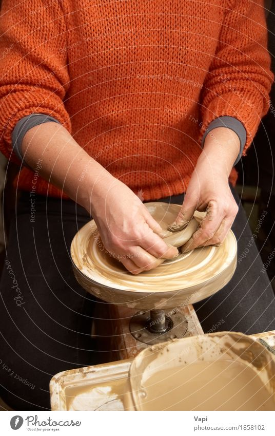 Female hands forming clay pot Crockery Plate Bowl Pot Cup Mug Leisure and hobbies Handicraft Work and employment Profession Workplace Factory Industry