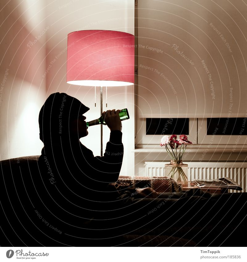 Adults Relaxation Lamp Flat (apartment) Masculine Living or residing Drinking Human being 18 - 30 years Beer Sofa Television Living room Alcoholic drinks