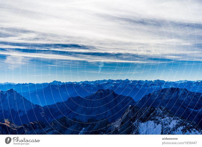 Alps Nature Landscape Sky Mountain Peak Snowcapped peak Contentment Enthusiasm Honor Acceptance Dangerous Zugspitze Bavaria Grainau Colour photo Exterior shot