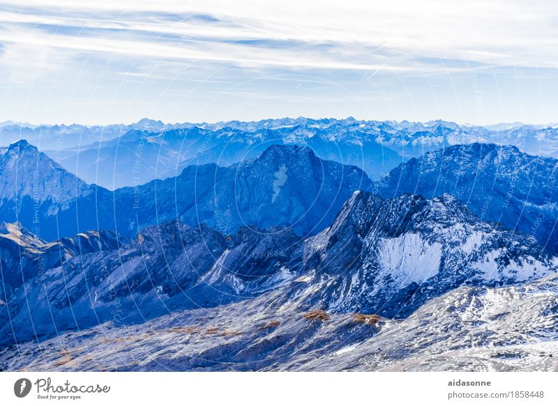 Alps Landscape Snow Rock Mountain Peak Snowcapped peak Glacier Esthetic Blue Colour photo Exterior shot Deserted Day Panorama (View)