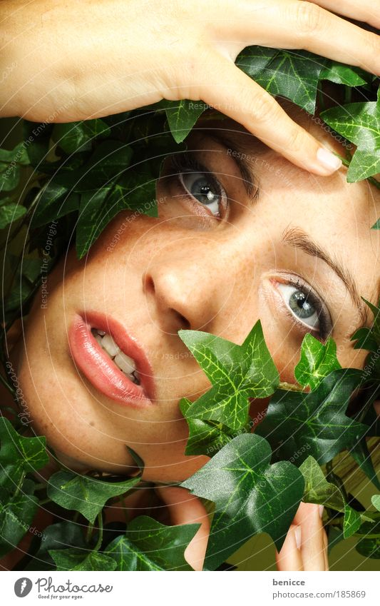 Nature takes revenge Woman Human being Scream Overgrown grow together Creeper Plant Leaf Captured Penitentiary Environment Revenge Environmental protection