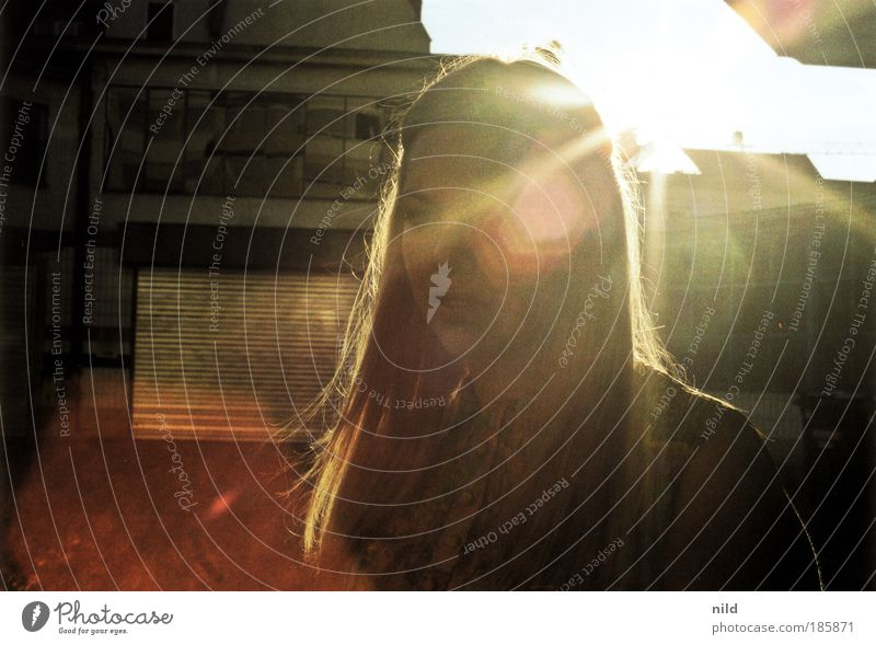 Human being Youth (Young adults) City Summer Feminine Dream Blonde Adults Woman Back-light Film Retro Sunlight Analog Seventies Backyard