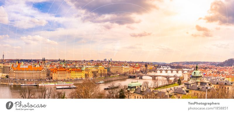 Prague city panorama Sky Vacation & Travel Clouds Architecture Spring Building Tourism Copy Space Trip Gold Europe Bridge River Skyline Capital city European