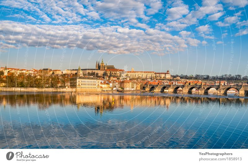 Prague skyline and water reflection Vacation & Travel Tourism Trip Sightseeing City trip Architecture Culture Nature Landscape Water Sky Clouds River
