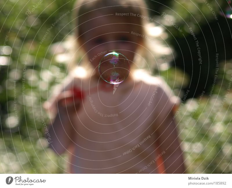 Soap bubbles Seifenblasen Banki mydlane Human being Child Water Girl Summer Joy Face Life Emotions Freedom Happy Dream Infancy Happiness Uniqueness Portrait photograph
