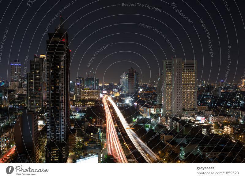 Night illuminated Bangkok, Thailand Street Architecture Lanes & trails Movement Building Transport Car High-rise Vantage point Bridge River Illuminate Asia