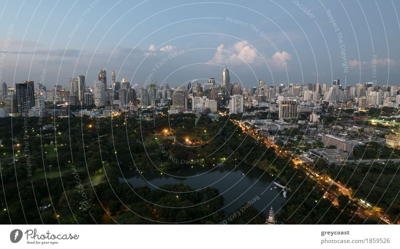 Bangkok city in the evening Nature Sky Clouds Park Forest Town Building Architecture Transport Street Highway Car Emotions Vantage point panorama Asia City