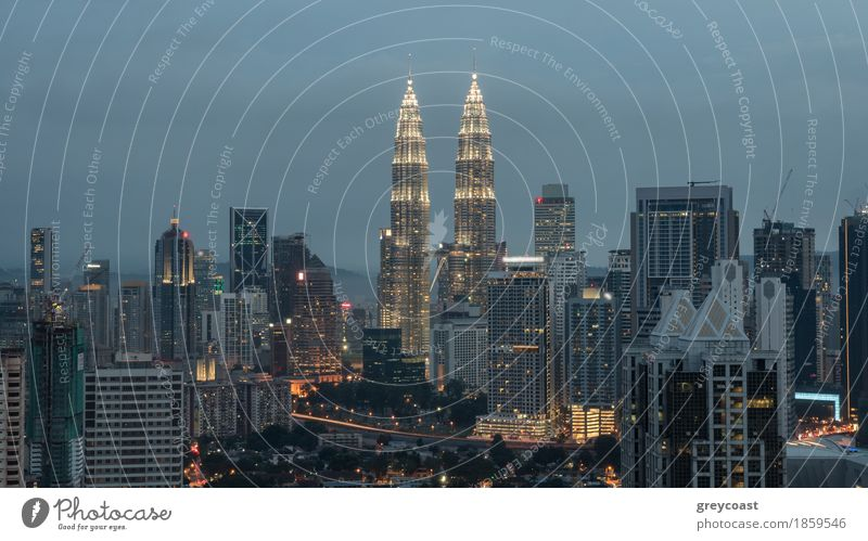 Evening cityscape with illumination of building including Petronas Twin Towers. Kuala Lumpur, Malaysia Town Capital city House (Residential Structure) High-rise