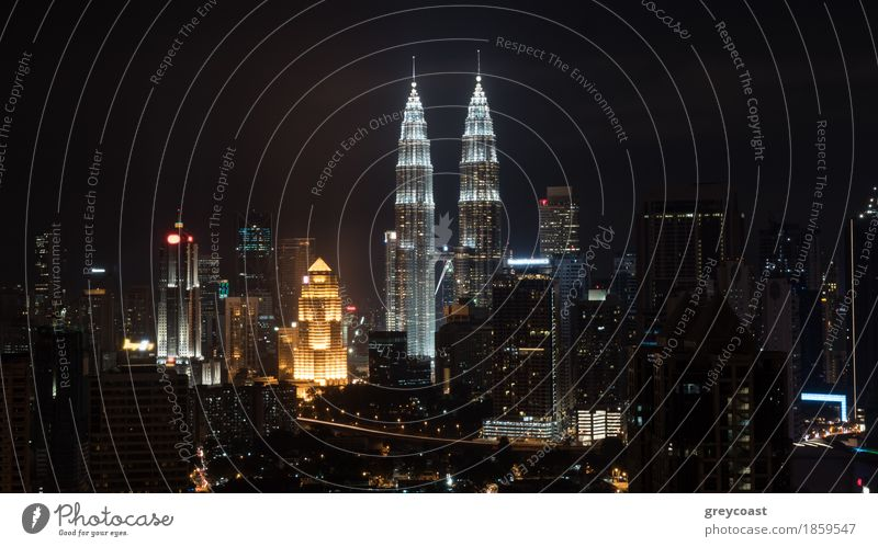 Night cityscape of Kuala Lumpur with famous Petronas Twin Towers, Malaysia Town Capital city High-rise Building Architecture Happiness Brave Vantage point