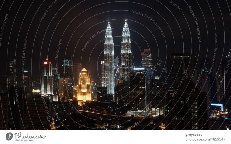 Night in Kuala Lumpur, Malaysia Town Capital city High-rise Building Architecture Happiness Brave cityscape Vantage point panorama petronas Malaya Illuminate
