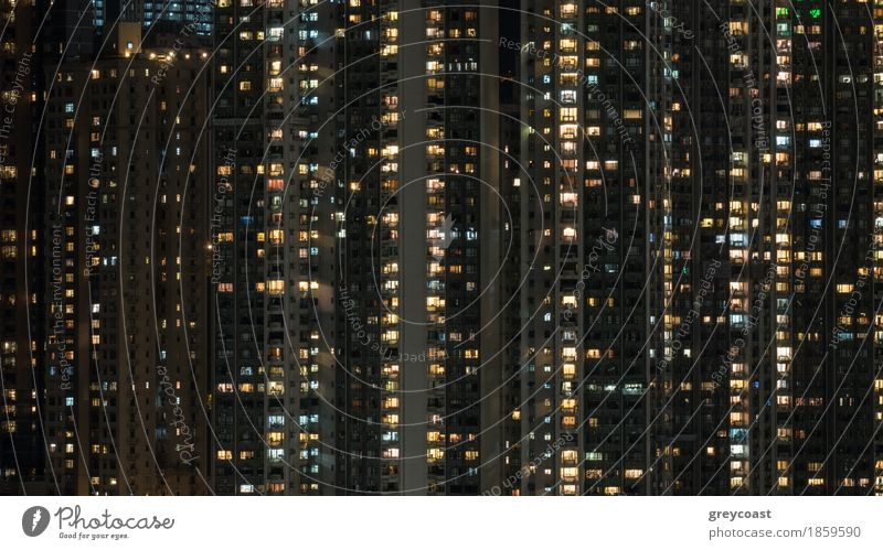 Windows lights in high-rise apartment house in night Hong Kong Flat (apartment) House (Residential Structure) Town Capital city High-rise Building Architecture