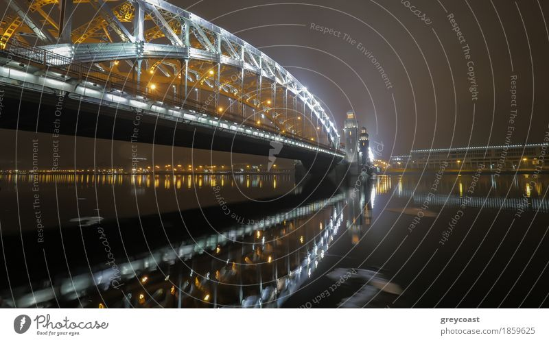 Peter the Great Bridge in St. Petersburg at night Water Autumn River Architecture Enthusiasm Brave saint Illuminate peter the great st neva Russia