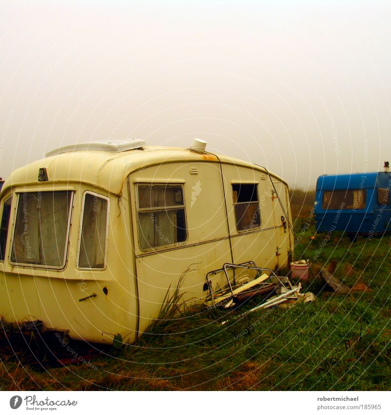 Vacation & Travel Meadow Fog Broken Transport Camping Shabby Scrap metal Caravan Trailer Proletarian Trash Vacation home Camping site Homeless Ruined