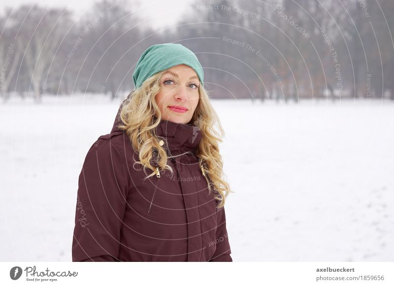 Human being Woman Nature Youth (Young adults) Young woman Landscape Winter Adults Cold Lifestyle Feminine Snow Park Leisure and hobbies Weather Blonde