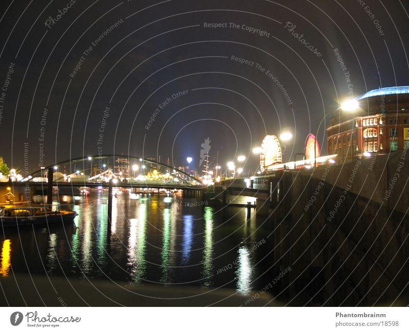 Port of Hamburg Long exposure Night Watercraft Club Harbour Bridge
