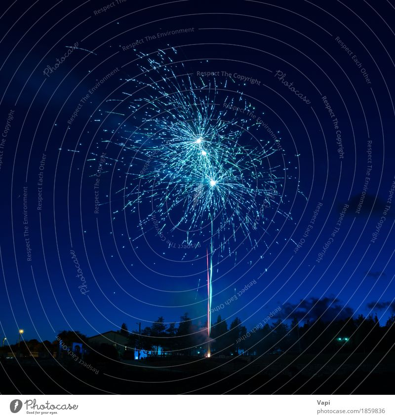 Blue colorful fireworks on night sky Sky Christmas & Advent Colour White Joy Dark Black Freedom Feasts & Celebrations Party Bright New Event New Year's Eve
