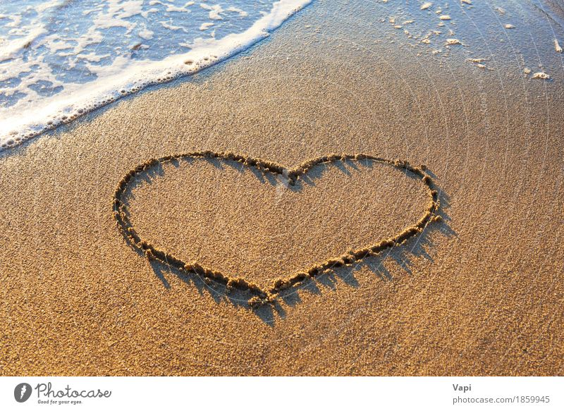 Heart drawn on the beach sand Nature Vacation & Travel Blue Summer Water White Sun Ocean Landscape Relaxation Joy Beach Warmth Yellow Love Natural