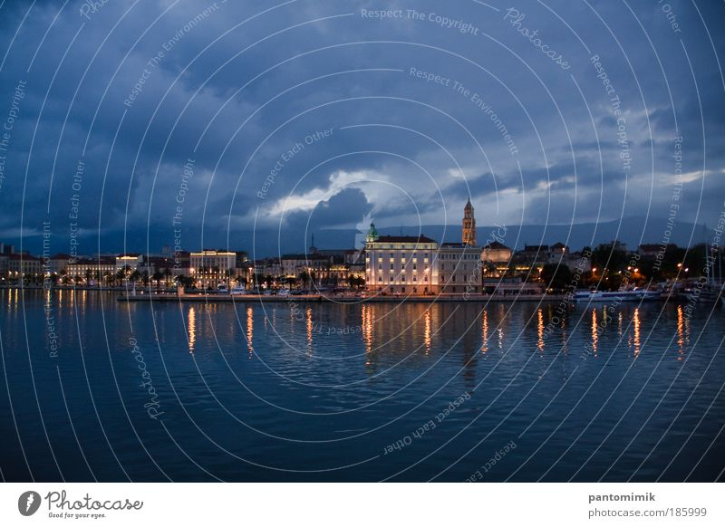 Early one morning... Water Storm clouds Summer Rain Coast Split Croatia Town Port City Castle Harbour Boating trip Passenger ship On board Old Historic Blue