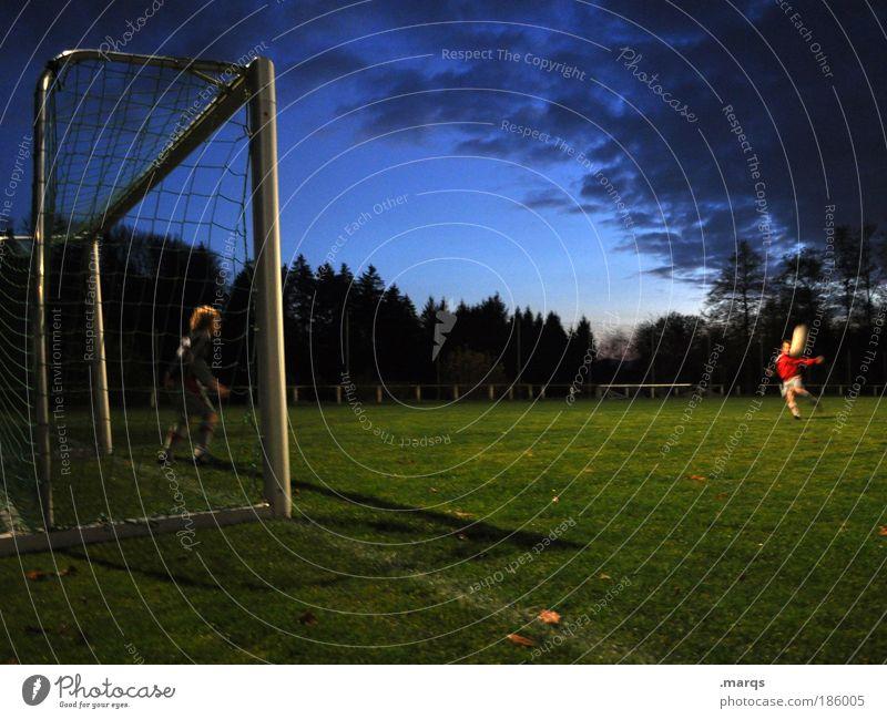 Human being Joy Dark Sports Child Boy (child) Friendship Leisure and hobbies Soccer Masculine Success Stand Soccer player Ball Watchfulness Sporting grounds