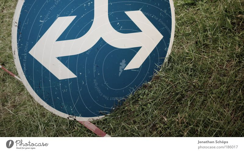 Blue White Green Street Meadow Grass Signs and labeling Transport Circle Signage Round Arrow Divide Barrier Motoring