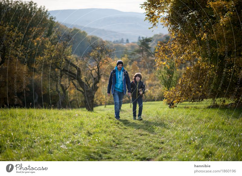 Human being Child Nature Man Landscape Forest Adults Autumn Meadow Boy (child) Family & Relations Going Masculine Trip Hiking Infancy