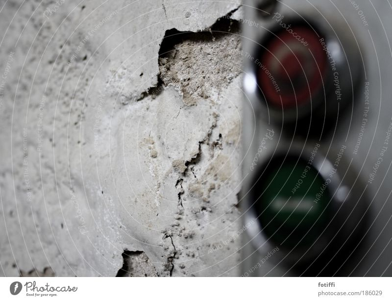 Old Green White Red Loneliness Calm Wall (building) Wall (barrier) Dirty Concrete Broken Factory Decline Silver Flake off Switch