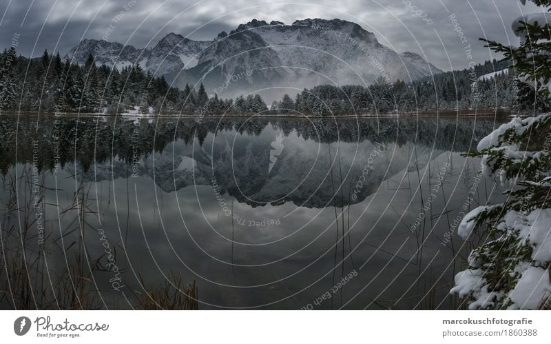 mountain mirror Environment Nature Landscape Water Clouds Night sky Moon Full  moon Autumn Winter Bad weather Fog Ice Frost Snow Hill Rock Alps Mountain