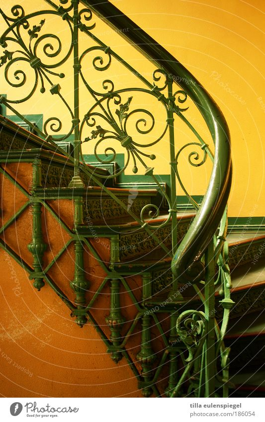 / Deserted House (Residential Structure) Building Stairs Esthetic Beautiful Yellow Green Colour Staircase (Hallway) Banister Delicate Curlicue Noble Warmth