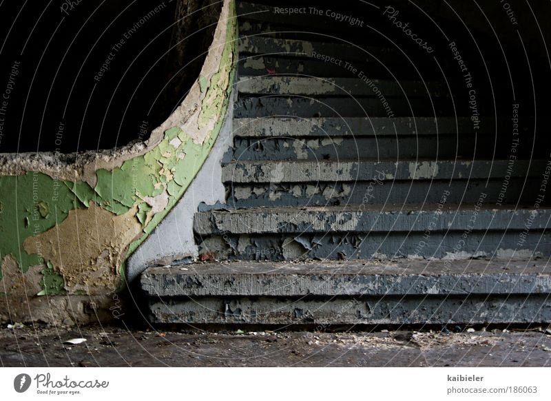 career ladder Stairs Staircase (Hallway) Banister Manmade structures Building Old Broken Retro Blue Green Black Fear Fear of the future Esthetic Decline Past