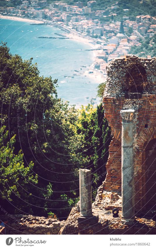 Detail view of Taormina, Sicily, Italy Tourism Ocean Island Mountain House (Residential Structure) Theatre Landscape Plant Cactus Volcano Coast Village Town