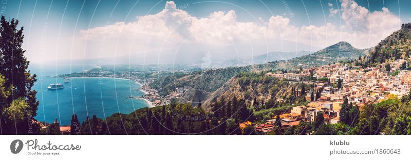 Panoramic view of Taormina, Sicily, Italy Tourism Ocean Island Mountain House (Residential Structure) Theatre Landscape Plant Cactus Volcano Coast Village Town
