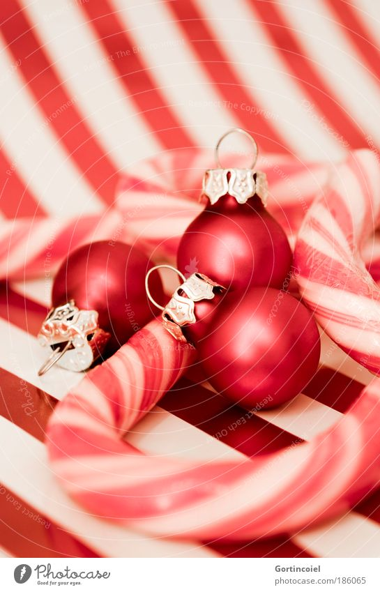 Christmas & Advent Beautiful White Red Style Feasts & Celebrations Glittering Food Design Lifestyle Kitsch Decoration Stripe Illuminate Luxury