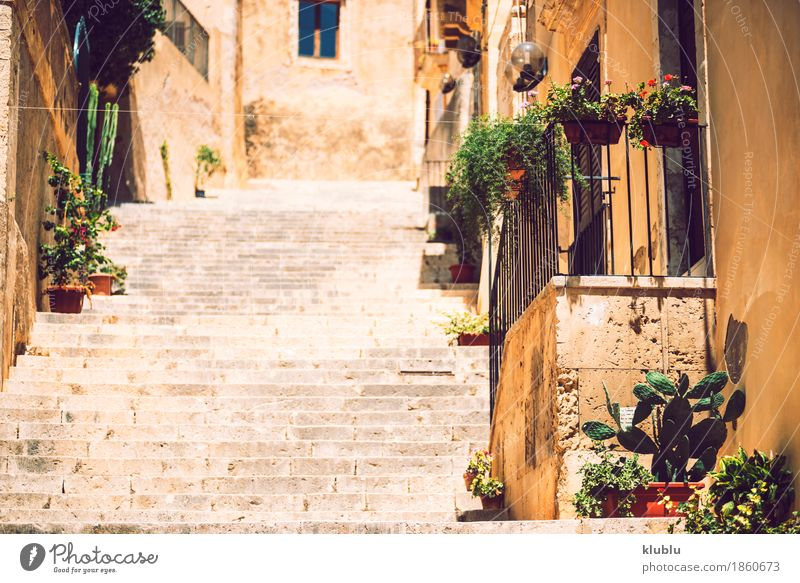 View of Noto, Sicily, Italy Sky Old Town Tree Clouds House (Residential Structure) Street Architecture Style Building Stone Stairs Church Vantage point Island Italy