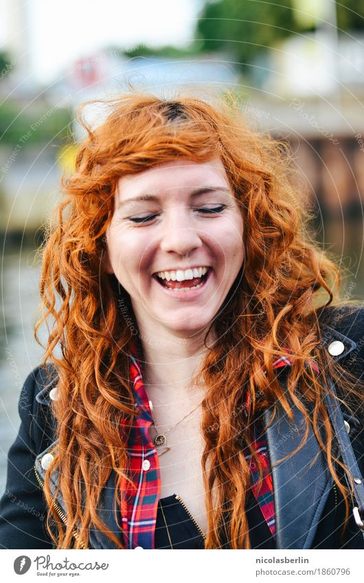 Portrait of a happy laughing redhead Joy Happy pretty Hair and hairstyles Skin Face Well-being Leisure and hobbies Vacation & Travel Adventure Freedom Flirt