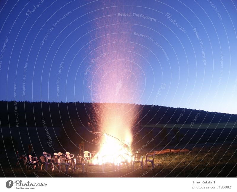 campfire Nature Landscape Fire Sky Night sky Summer Beautiful weather Meadow Forest Hill Blue Calm Loneliness Colour photo Multicoloured Exterior shot Deserted